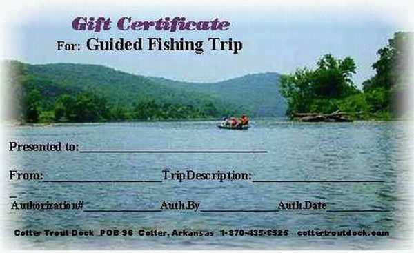 gift certificate-guided                                       fishing trip-Cotter Trout Dock